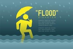 Desastre de inundación del pictograma de los iconos del hombre con el ejemplo infographic del diseño del paraguas stock de ilustración