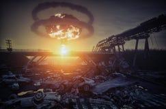 Desastre de la guerra nuclear imagen de archivo
