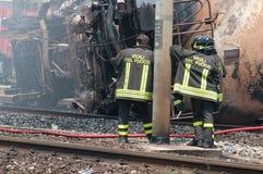Desastre del tren en Viareggio, Italia Fotografía de archivo libre de regalías