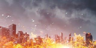 Desastre en concepto de la ciudad Técnicas mixtas Fotografía de archivo