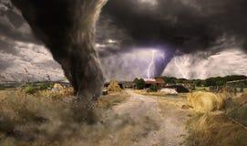 Desastre grande del tornado Fotos de archivo