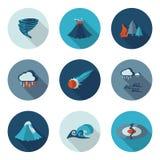 Desastres naturales de los iconos planos Imagen de archivo