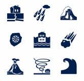 Desastres naturales, iconos monocromáticos Foto de archivo libre de regalías