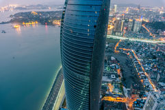 Desatención de las torres gemelas de Petronas de la señal de la ciudad de Xiamen Fotografía de archivo