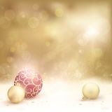 Desaturated golden christmas background with baubles. Christmas card in desaturated golden shades with light effects. Christmas baubles, blurry light dots and vector illustration