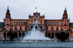 Desaturated mening van het Plein DE España, Sevilla, Spanje stock fotografie