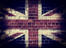 Desaturated UK flag on a brick wall Royalty Free Stock Photography