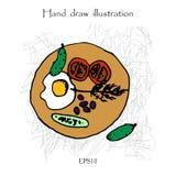 Desayune con el ejemplo del dibujo del huevo frito y de la mano de las verduras Fotos de archivo libres de regalías