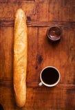 Desayune con el ganache francés del baguette, del café y del chocolate Fotos de archivo libres de regalías
