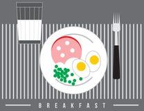Desayune con el vidrio de la leche, del huevo, de los guisantes y de la salchicha, ejemplo del vector Imagen de archivo