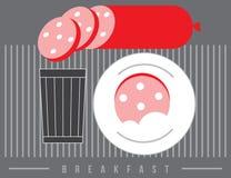 Desayune con el vidrio y la salchicha en estilo retro Fotografía de archivo