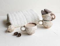Desayuno acogedor con café y leche Concepto del estilo de vida Foto de archivo