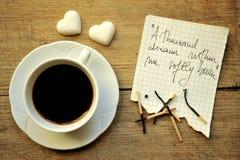 Desayuno con café y azúcar italianos Fotografía de archivo libre de regalías