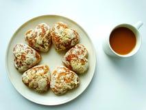 Desayuno con café y galletas Fotos de archivo