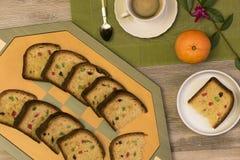 Desayuno con café y la torta Imagen de archivo