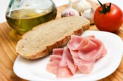 desayuno con el jamón Foto de archivo libre de regalías