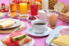 desayuno con el jugo y el atasco orgánicos Imagen de archivo