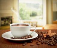Desayuno con la taza de café Fotografía de archivo