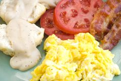 Desayuno con tocino y huevos Imagenes de archivo