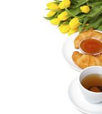 Desayuno continental y flores Foto de archivo