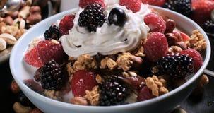 Desayuno de cereales con las bayas, las frutas secas, la leche y la crema azotada almacen de video