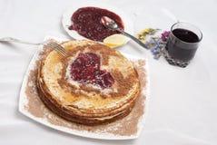 Desayuno de la crepe Foto de archivo libre de regalías
