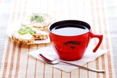 Desayuno de la dieta con té Fotografía de archivo libre de regalías