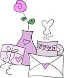 Desayuno de la tarjeta del día de San Valentín stock de ilustración