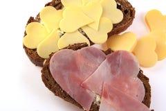 Desayuno de las tarjetas del día de San Valentín Foto de archivo libre de regalías