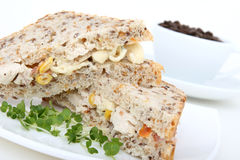 Desayuno del café y del emparedado/almuerzo fotografía de archivo