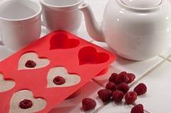 Desayuno del día de tarjeta del día de San Valentín Fotografía de archivo libre de regalías