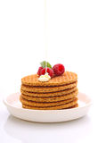 Desayuno del fin de semana: galletas con leche condensada Fotografía de archivo libre de regalías