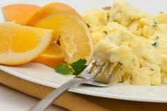 Desayuno del huevo revuelto Fotografía de archivo