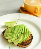 Desayuno del negocio con café imagen de archivo