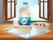 Desayuno en la tabla con leche y cereal ilustración del vector