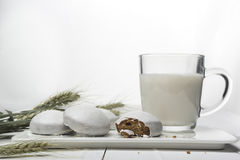 Desayuno fácil de la dieta del yogur y del pan de jengibre Aún-vida con la comida y los cereales en un fondo blanco horizontal Fotografía de archivo