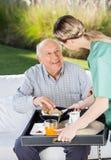Desayuno femenino de la porción del vigilante al hombre mayor Fotografía de archivo