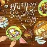 Desayuno hermoso del ejemplo Imagen de archivo libre de regalías