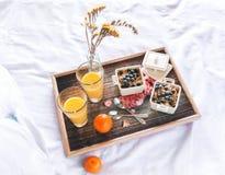 Desayuno, muesli, arándanos y zumo de naranja Fotografía de archivo libre de regalías