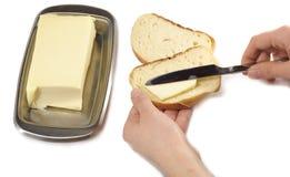 Desayuno. Pan y mantequilla Foto de archivo libre de regalías