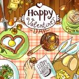 Desayuno para el día de tarjeta del día de San Valentín Imagen de archivo libre de regalías