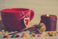 Desayuno romántico de la bebida caliente Imagen de archivo libre de regalías