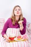 Romantic breakfast in bed Fotografía de archivo libre de regalías
