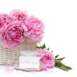 Desayuno romántico, flor y una tarjeta en blanco del cartel Imagen de archivo libre de regalías