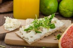 Desayuno sano, biscote curruscante con el queso cremoso orgánico Foto de archivo