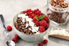 Desayuno sano del Granola con el yogur, el muesli y el berrie naturales fotos de archivo