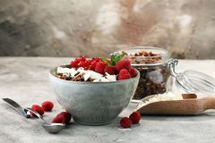 Desayuno sano del Granola con el yogur, el muesli y el berrie naturales imagen de archivo libre de regalías