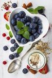 Desayuno sano del muesli, bayas con el yogur y semillas Fotografía de archivo libre de regalías