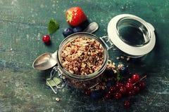 Desayuno sano del muesli, bayas con el yogur y semillas Fotografía de archivo