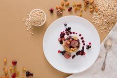 Desayuno sano - gachas de avena de la harina de avena, aún vida Imagen de archivo